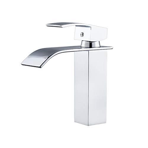 Shuilongtou Faucet de la Cascada de la Faucet de la aleación de Cobre de la Boca Cuadrada del Grifo del Grifo Ajustable y frío del Grifo del Lavabo. 0327 (Color : Silver)