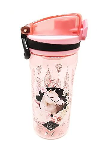 Auslaufsichere Schlanke Wasserflasche Trinkflasche Sportflasche Flasche für Kinder mit Fruchtsieb Kohlensäure geeignet BPA-frei, 600ml für Schule, Spielplatz Sport Outdoor (Pferd)