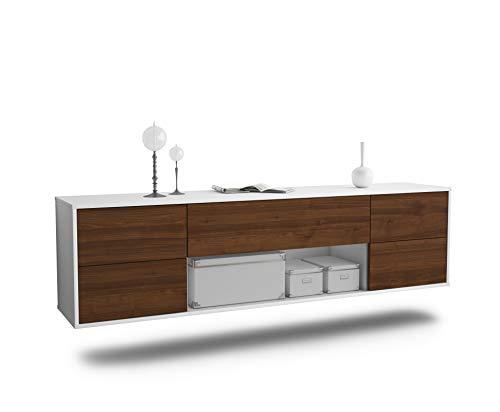 Dekati Lowboard Lincoln hängend (180x49x35cm) Korpus Weiss matt | Front Holz-Design Walnuss | Push-to-Open