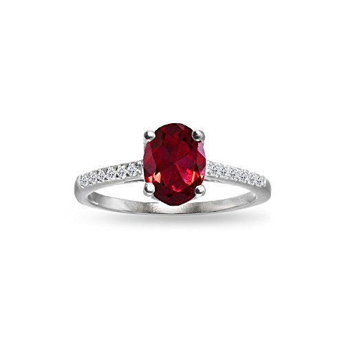 GemStar USA Sterling Silver Synthetic Ruby and White Topaz Oval Crown Ring, Size 7