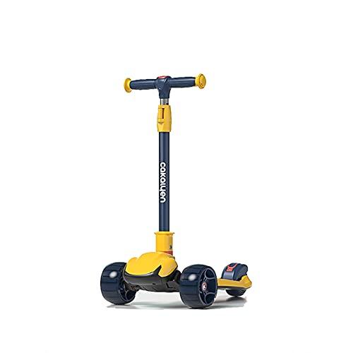 PTHZ Scooter para niños - Scooter de 3 Ruedas, Scooter de Altura Ajustable para niños, Magro para dirigir con LED de PU Extra Ancho, Llantas, para niños y niñas de 2 años y para Arriba,Amarillo