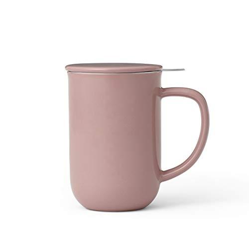 Viva Scandinavia Tasse à thé en Porcelaine avec infuseur Amovible en Acier Inoxydable, thé en Vrac, thé à Feuilles poignée Isolante, 0.5 L, Rose
