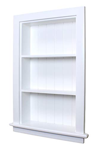 14x24 White Recessed Aiden Wall Niche w/Beadboard Back by Fox Hollow Furnishings - (Also Available in Dark Brown and Unfinished)