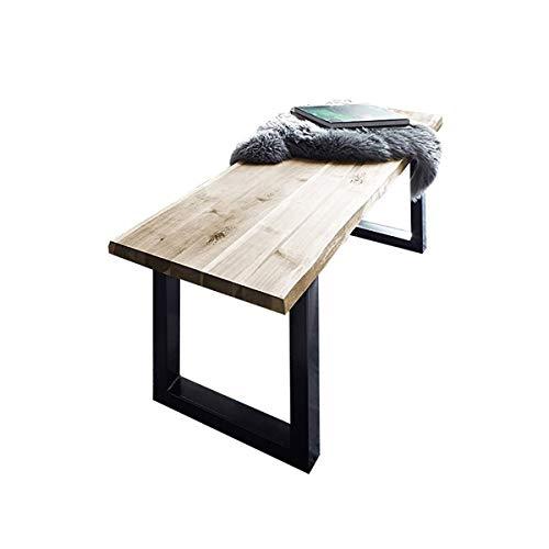 SAM Sitzbank 140x42 cm Quintus, Akazien-Holz naturfarben, schwarz lackierte Metallbeine, Bank mit echter Baumkante, Massive Holzbank
