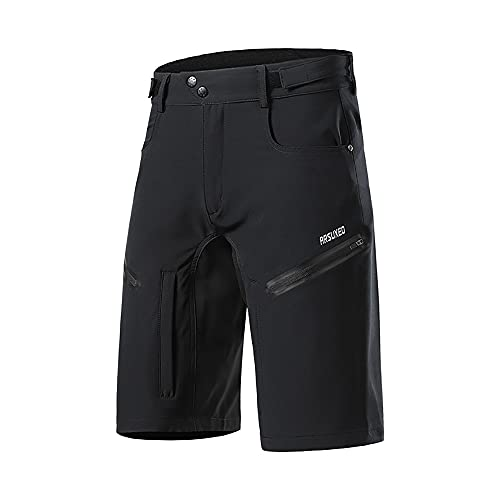 GodUp MTB Shorts Herren Radhose, Mountainbike Hose Fahrradhose Herren Kurz,Atmungsaktiv Outdoor Sport (Schwarz, M, m)