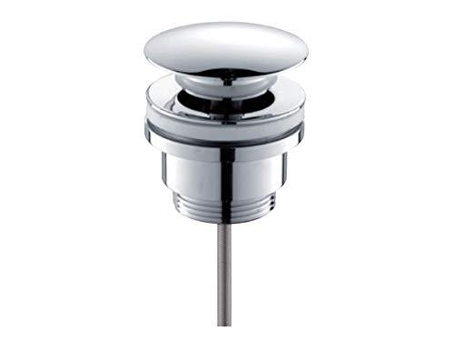 Aqua Bagno Solo Universal Ablaufgarnitur für Waschbecken & Waschtische mit und ohne Überlauf, Pop-Up Ventil, genormtes Einbaumaß, Chrom