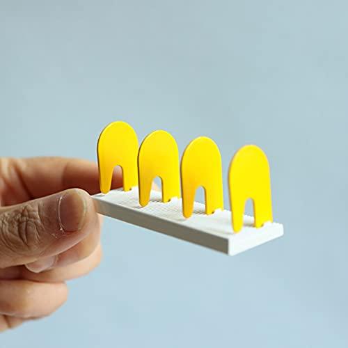 ENticerowts Estilo nórdico casa de muñecas miniatura estante de libro adorno alta simulación flexible escritorio estantería DIY decoración amarillo