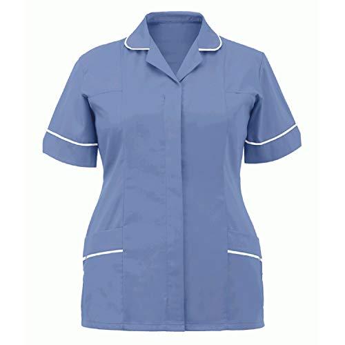 Snakell Schlupfkasack Schlupfjacke Damen Kasack Uniformen Kurzarm Berufsbekleidung V-Ausschnitt Kasacks Damen Pflege Top für Krankenschwester, Zahnarzt, Ärzte, Dienstmädchen, Studenten