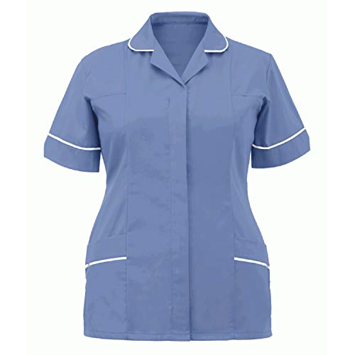 Women Nurses Short Sleeve Working Uniform Tops Classic Solid Color Lapel Neck Tunic Working Tshirt Blause with 2 Pocket Holiday Workwear for Women Summer Gifts Blue