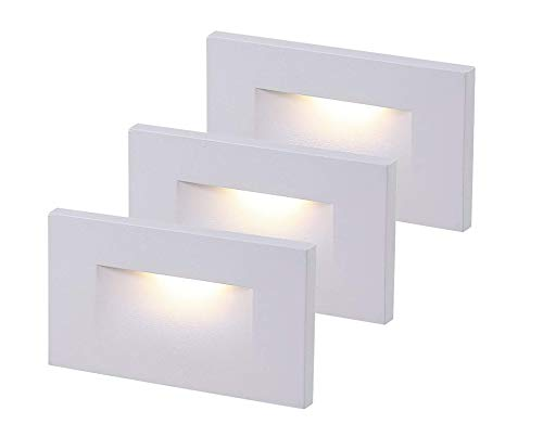 Cloudy Bay 120V Dimmable LED Indoor Outdoor Step Light,3-Pack,3000K Warm White ,Stair Light,White Finish