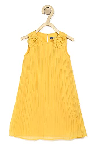 Allen Solly Junior Synthetic A-Line Dress (AGDRORGFF53667_Yellow_12)
