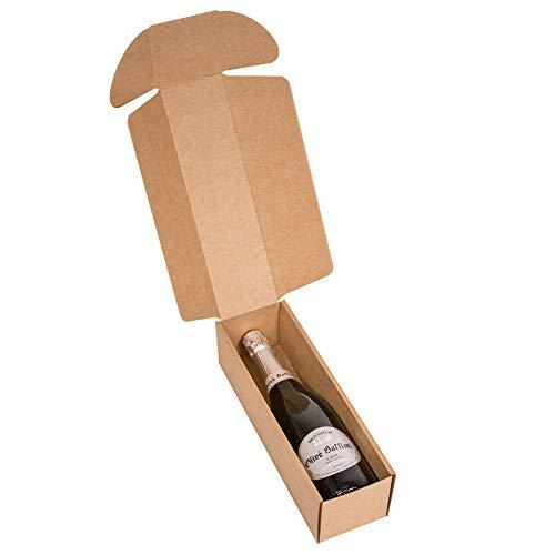 KARTOX | Estuche para Regalo de 1 Botella | Caja de cartón para Cava o Champagne de Color Kraft | 4 Unidades