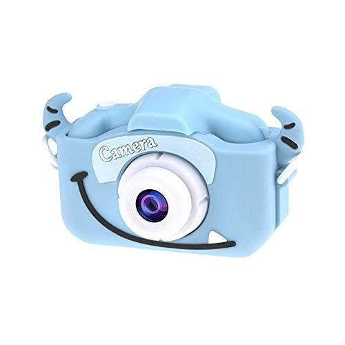 Dibujos Animados Anti-otoño Mini cámara Delantera y Trasera Doble Digital pequeña cámara SLR cámara de Dibujos Animados Lindo Camara Juguetes (Color : Blue Cow)
