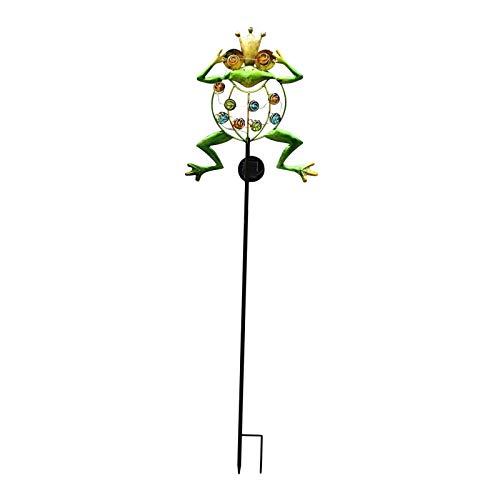 H HILABEE 1pc Solar Powered Frog 10 LED Estaca Luz Jardín Césped Lámpara Al Aire Libre