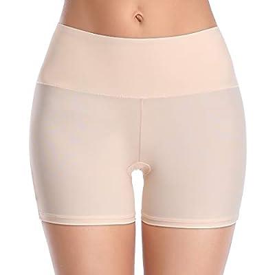 Slip Shorts for Under Dresses Women Seamless Boyshort Panties Anti Chafing Thigh Bands Underwear (Beige-2, M)