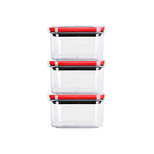 NEOFLAM Airtight Smart Seal Food Storage Container (Set of 3, Square) | Crystal Clear Body | Modular, Stackable, Nestable Design | Easy to Clean, BPA Free (0.6 L, 20.2 oz)