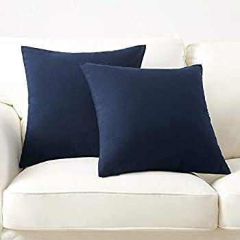 """Longhui bedding Linen Blend Throw Pillow Cover Navy Blue 18"""" x 18"""" Decorative Pillows Set of 2 Zippered Square Sofa Couch Bed Cushion Pillowcases"""