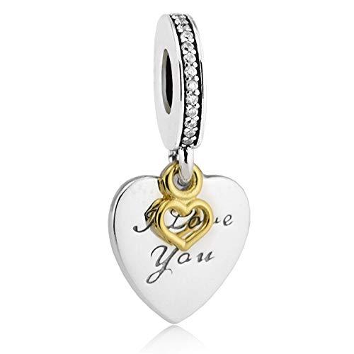LISHOU DIY 925 Plata Esterlina Love You Ever Clear Heart Colgante Golden Shine Fine Charm Beads Fit Pandora Pulsera Collar para Mujer Joyería Que Hace Regalo