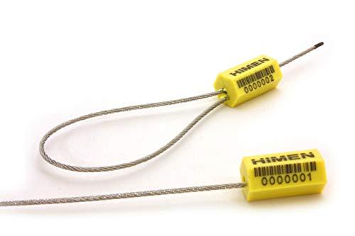 50x PLOMBEN aus Metall mit Drahtseil von HIMEN | fortlaufend nummeriert | mit BARCODE | Länge 280 mm | PCS-1.8 | Seals | yellow