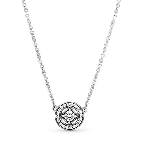 Pandora Jewelry Vintage Circle Collier Silver Chain Cubic Zirconia Necklace in Sterling Silver, 17.7'