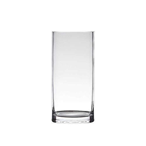 Hakbijl Dekoglas, Vase Zylinder H. 25cm D.12cm transparent rund Glas