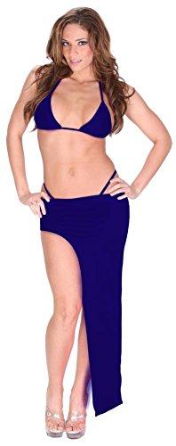 Sexy Exotic Dance Club Stretch Lycra Spandex Bikini and Asymmetrical Full Length Skirt Set for Women 8X (28-30) Royal Blue
