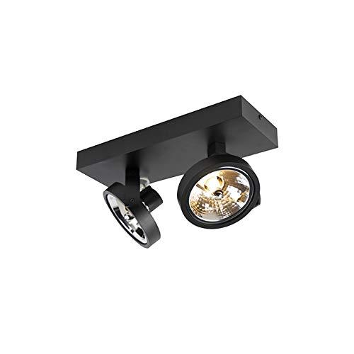 QAZQA Design/Industrie/Industrial/Modern Design Spot/Spotlight/Deckenspot/Deckenstrahler/Strahler/Lampe/Leuchte schwarz verstellbar 2-flammig-flammig inkl. LED - Go/Innenbeleuchtung