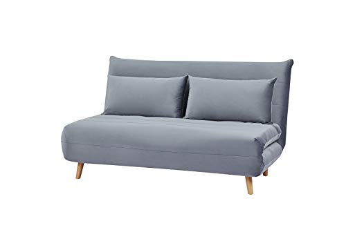 Meubletmoi - Sofá cama convertible de 2 plazas, tejido aterciopelado gris estilo escandinavo