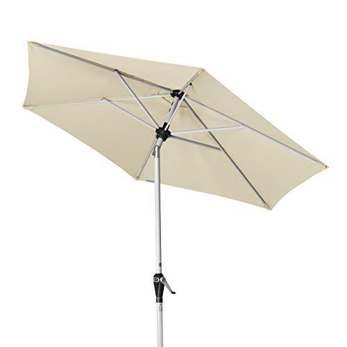 Doppler Active Auto Tilt 210 - Kurbel Sonnenschirm - Ideal für den Balkon - Mit einfacher Höhenverstellung - ca. 210 cm - Natur