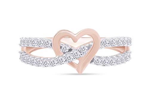 AFFY Round Cut White Cubic Zirconia Infinity Heart Promise Ring in 14k Rose Gold Over Sterling Silver Ring Size-9