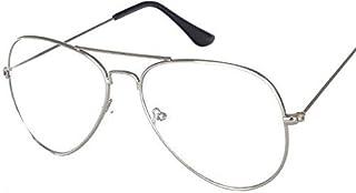 Oversized Aviator Flat Glasses Men Women Metal Frame Clear Lens Eyeglasses