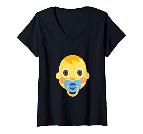 Damen Emoji Baby Boy Cute Adorable Schnuller Boy Hair New Friend T-Shirt mit V-Ausschnitt