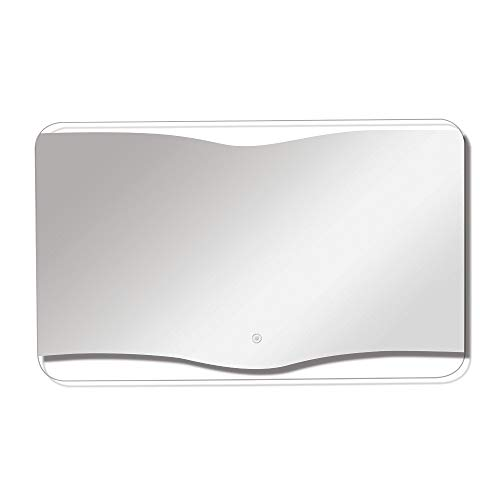 Transolid TLMG3524 Grace Rectangular Horizontally Mounted LED-Lighted Frameless Contemporary Wall Mirror with Touch Sensor - Fits 36-in. Vanity, W x 24-in H, Silver
