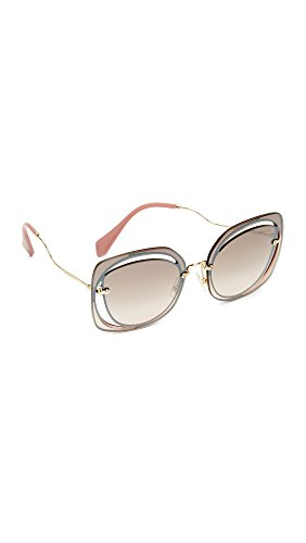 Miu Miu Women's Cut Out Square Sunglasses, Brown/Brown Silver, One Size