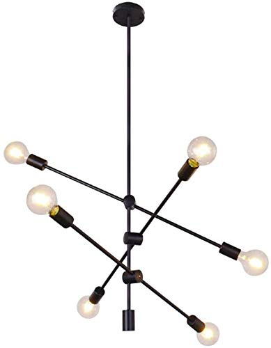 Sputnik Lamp met 6 spots, moderne kroonluchter, hanglamp, fitting, vlakke schuine plafond, E27-fitting, metaal, voor woonkamer, eetkamer, slaapkamer, keukentafel, winkel, restaurant, goud