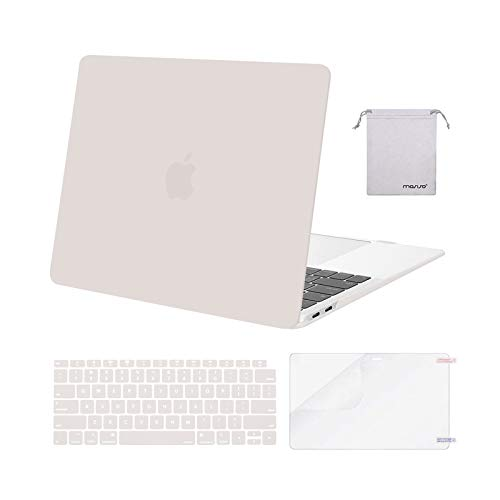 MOSISO Compatible with MacBook Air 13 inch Case 2020 2019 2018 Release A2337 M1 A2179 A1932 Retina Display Touch ID, Plastic Hard Shell&Keyboard Cover&Screen Protector&Storage Bag, Rock Gray