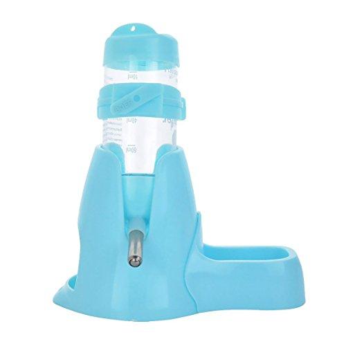 MOACC Hamster Trinkflasche mit der Napf Wasserflasche Gut für Kleintiere Nagen, Chinchilla, Kaninchen, Ratten, Frettchen, 80ml, Blau
