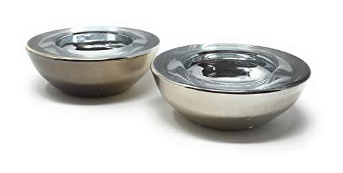 VINE RITUALS® Portavelas redondo plateado. Decoración de alta calidad chapada en plata para el hogar, bodas, fiestas.