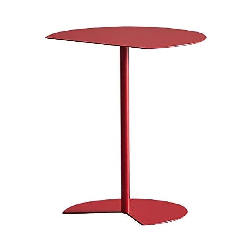 一目一時的期限GWM コーヒーテーブル、ノートパソコンのゲームテーブルモダンなコーヒーティーデスクオフィス家具、北欧サイドシンプルモダンクリエイティブ小さなコーヒーテーブルリビングルーム小さなテーブルバルコニーラウンドテーブル錬鉄コーヒーテーブル交渉テーブル (Color : Red)