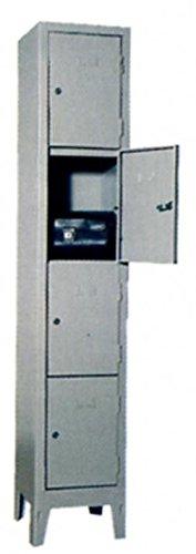 COARME Armadio Metallo Acciaio portaborse 4 vani 36x50x180 cm