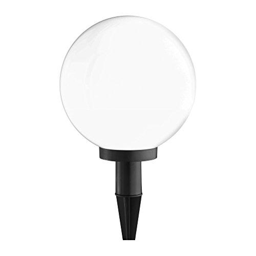 Kugelleuchte aussen, Gartenlampe Ø50cm, weiß   Außenleuchte spritzwassergeschützt   Gartenleuchte, E27 Fassung   Kugellampe mit Erdspieß & 5 Meter Kabelleitung