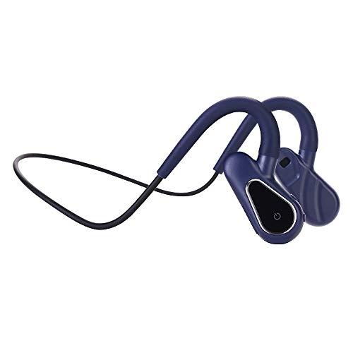 スポーツ用骨伝導ヘッドフォンこつでんどう イヤホンBluetooth5.0 16GBメモリ防水ワイヤレススポーツヘッドフォンジョギング用マイク付き軽量ヘッドセットランニングドライビングサイクリング (黒) (青)