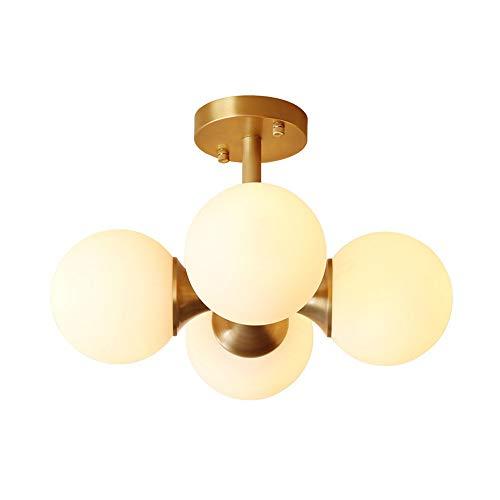 LED plafondlamp lampenkap volledig koper glas bol glas rond metaal goud hanglamp 4 lampen decoratieve plafondlamp