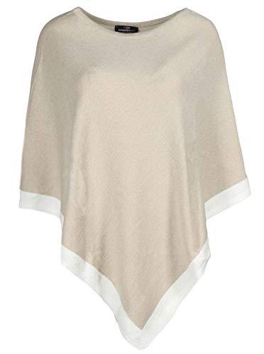Zwillingsherz Poncho mit Baumwolle - Hochwertiges Cape für Frauen Damen Mädchen - XXL Umhängetuch und Tunika - Strick-Pullover - Sweatshirt - Stola für Frühjahr Sommer Herbst und Winter - beig