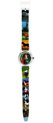 alles-meine.de GmbH 3-D Kinderuhr Pferde - Uhr Kinder Armbanduhr Stute braun Tiere Tier Pferd Mädchen Araber weiß Analog