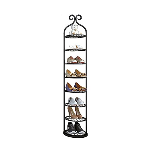 Multi-Capa Hierro Zapato Rack Americano Lujo Estrecho Zapato Almacenamiento Simple Home Door Pequeño Zapato Zapato Estante de Zapato Económico (Color : Black, tamaño : 8 Tier)