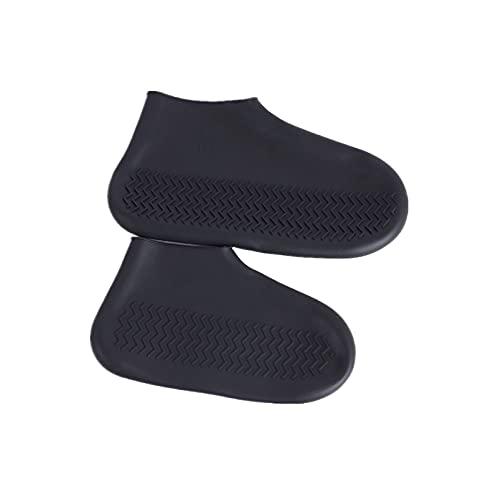 シューズカバー 防水 靴カバー コンパクト軽量 携帯便利 滑り止め 耐摩耗 梅雨対策 通勤通学 男女兼用 お手入れ簡単 (L, 黒のローチューブ)