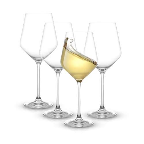 JoyJolt Layla White Wine Glasses, Set of 4 Italian Wine Glasses, 13.5 oz Clear Wine Glasses – Made in Europe