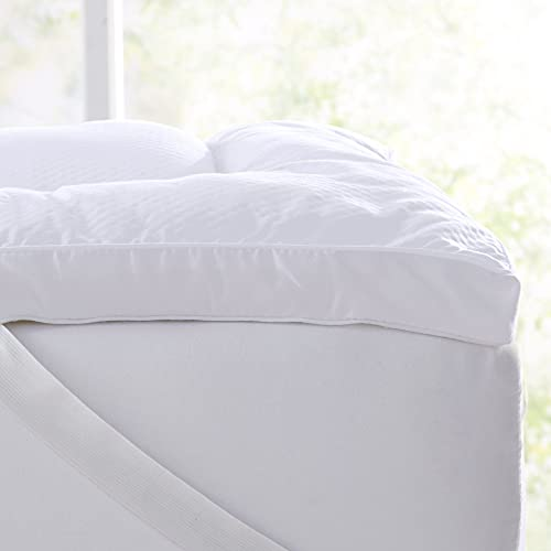 """Extra Thick Mattress Topper. Breathable Down Alternative Featherbed. 2-Inch Thick Mattress Pad. Fits Mattresses up to 18"""" Deep (Queen)"""