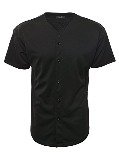 YoungLA Herren Baseball Jersey T-Shirts Einfarbig Button Down Sport Tee 303 Gr. S, Schwarz